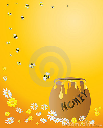 Honey jar with bees