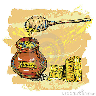 Honey jar with honeycombs