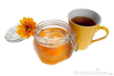Honey jar and tea cup, isolated