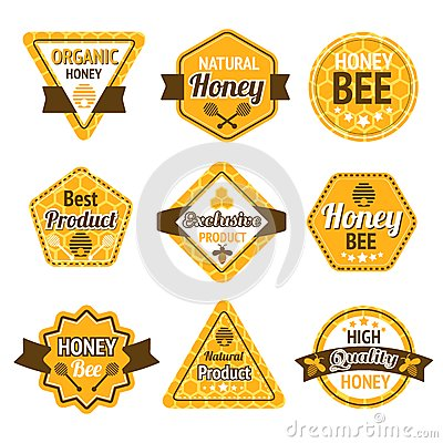 Free Honey Labels Set Royalty Free Stock Photo - 39955635