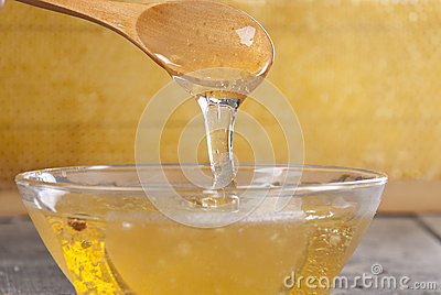 Honey with a spoon on the wooden table