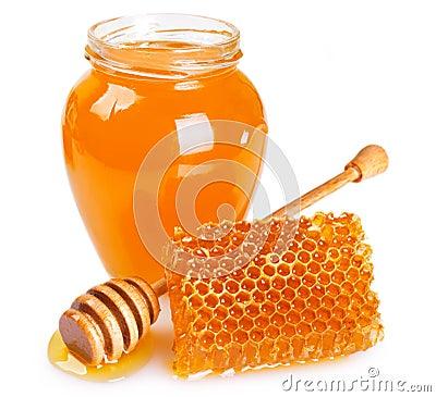 Free Honey With Honeycomb On White Background Stock Photo - 130150220