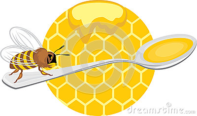 Honeybee on the spoon. Icon for design
