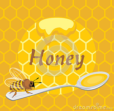 Honeybee on the spoon. Label for design