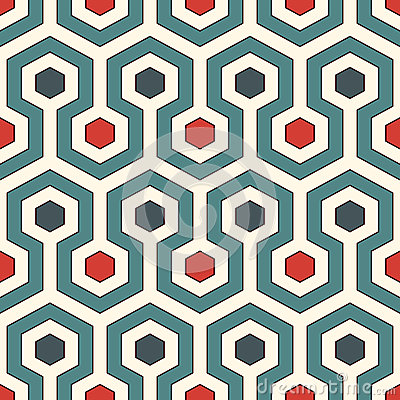 Free Honeycomb Background. Retro Colors Repeated Hexagon Tiles Wallpaper. Seamless Pattern With Classic Geometric Ornament. Stock Photo - 87551450