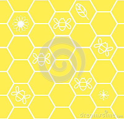 Honeycomb seamless background with flower leaf bee