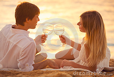 Honeymoon concept, Man and Woman in love
