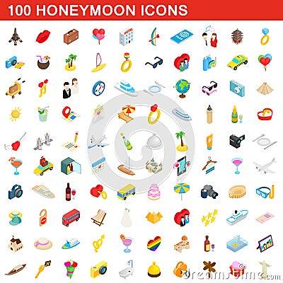 100 honeymoon icons set, isometric 3d style Vector Illustration