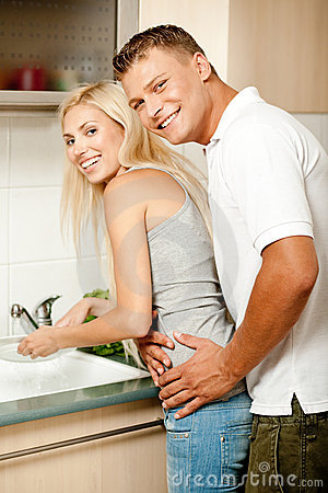Honeymoon love in the kitchen