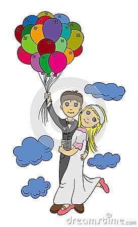 Free Honeymoon On A Balloon Royalty Free Stock Photos - 32413288