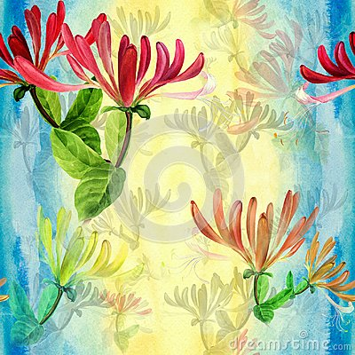 Free Honeysuckle - Medicinal, Perfumery And Cosmetic Plants. Watercolor. Seamless Pattern. Wallpaper. Flowers And Leaves. Stock Image - 101751361