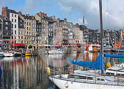 Honfleur harbour in Normandy. France.