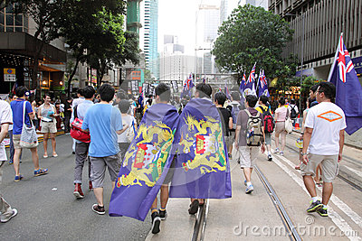 Hong Kong 1 July Marches 2012 Editorial Photo