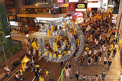 Hong Kong 1 July Marches 2012 Editorial Stock Image