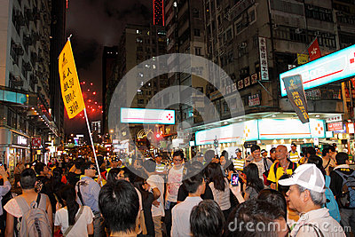 Hong Kong 1 July Marches 2012 Editorial Photography