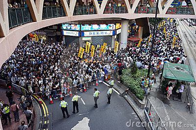 Hong Kong 1 July Marches Editorial Stock Image