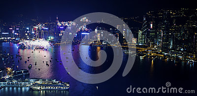 Hong Kong 2013 countdown fireworks Editorial Stock Image