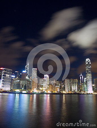 Наземный ориентир Hong Kong на ноче