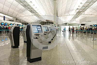 Hong Kong Airport Self Check-in Editorial Stock Photo