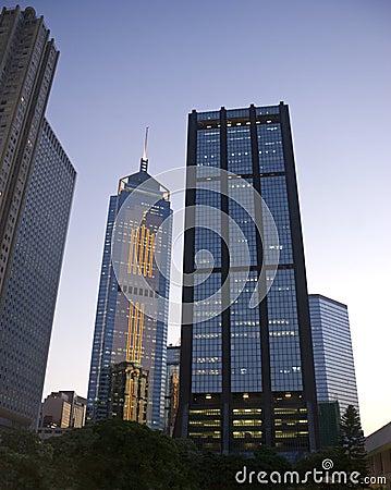 Hong Kong buildings Evening