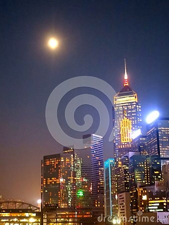 Hong Kong Buildings at Night, with Bright Lights Editorial Image