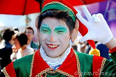 Hong Kong: Christmas Elf at Ocean Park Editorial Stock Photo