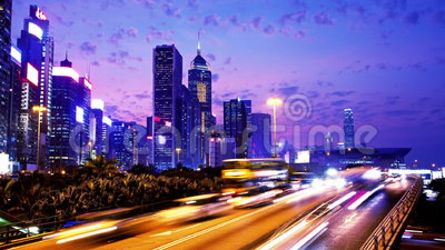 Hong Kong City Night Timelapse. Zoom In Shot. stock footage