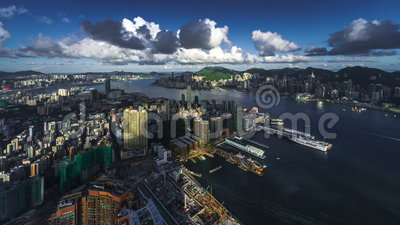 Hong kong cityscape timelapse. Timelapse of hong kong cityscape from sky100 observation deck stock footage
