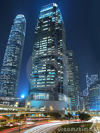 Hong Kong Commercial Landmark at Night