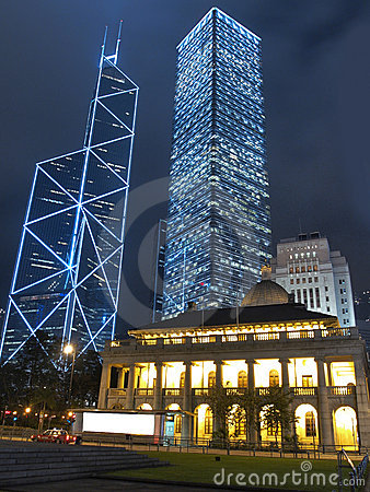 Hong Kong Core Buildings at Night