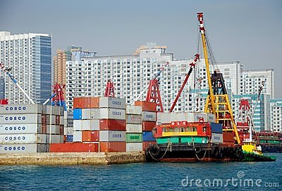 Hong Kong: Cosco Container Shipping Port Editorial Stock Photo