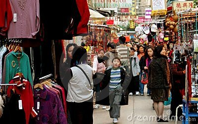 Hong Kong: Crowded Ladies  Market in Kowloon Editorial Stock Image