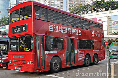 Hong Kong double-decker bus Editorial Image