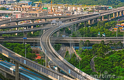 Hong kong downtown highways Editorial Photo