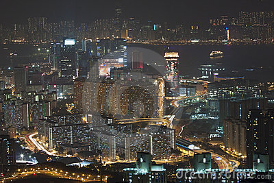 Hong Kong downtown at night, Kowloon side.