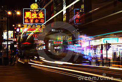 Hong Kong famous big and glow signboard Editorial Stock Photo