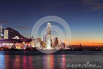 Hong Kong Finance Center with sunset