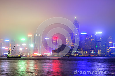 Hong Kong at foggy night