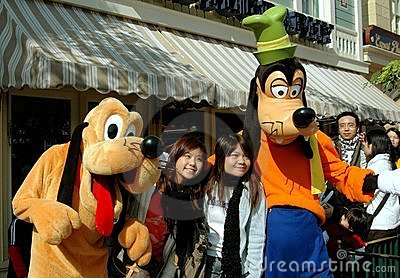 Hong Kong: Goofy and Pluto at Disneyland Editorial Photo