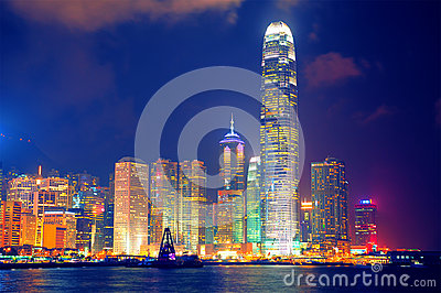 Hong kong harbor at night Editorial Photography