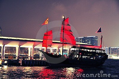 Hong Kong Harbour night - sightseeing boat
