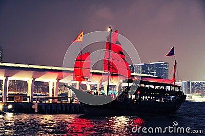 Hong Kong Harbour night - sightseeing boat