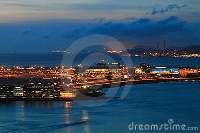 Hong Kong International Airport at night Editorial Stock Image
