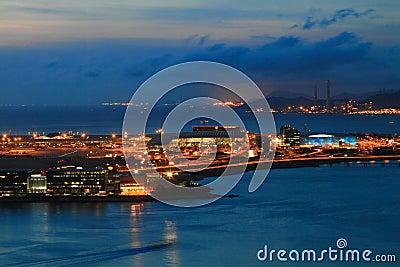 Hong Kong International Airport at night Editorial Stock Image