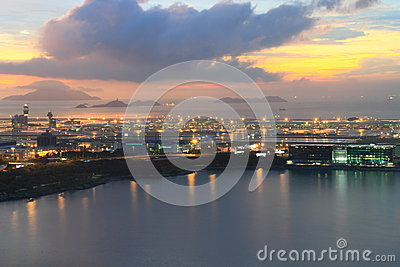Hong Kong International Airport at twilight Editorial Stock Photo