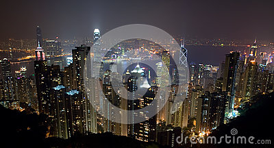 Hong Kong Island Skyline at night from the Peak