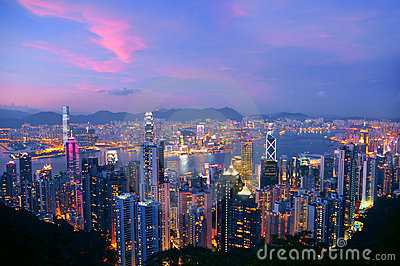 Hong kong & kowloon at night