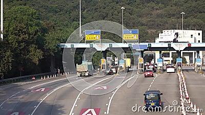 Hong Kong Kowloon TKO Wschodni tunel, opłaty drogowa stacja przy zwianie cyną w Hong Kong, na DEC 16, 2016 zdjęcie wideo