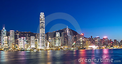 Hong Kong Landmarks at Night