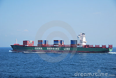 Hong Kong, May, 21, 2010 - Container vessel enteri Editorial Stock Photo